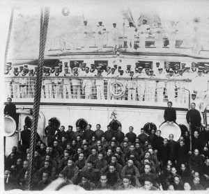 Sailors and Chinese labourers aboard the C.P. R.M.S. Empress of India