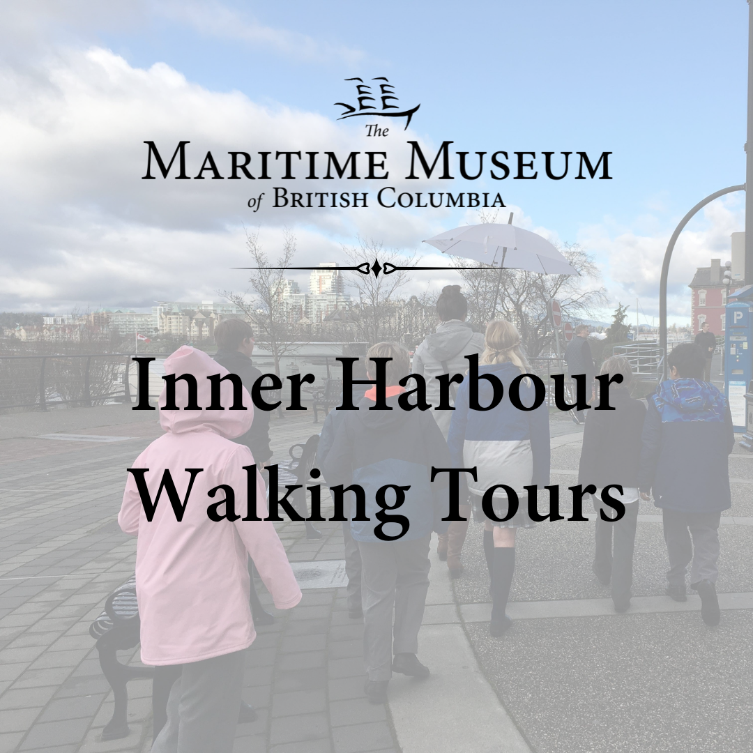 """A picture of children following a tour guide along the sidewalk. The tour guide is holding an open white umbrella. The image is semi-transparent and over top at the words """"Inner Harbour Walking Tours"""" and the Maritime Museum of BC logo."""