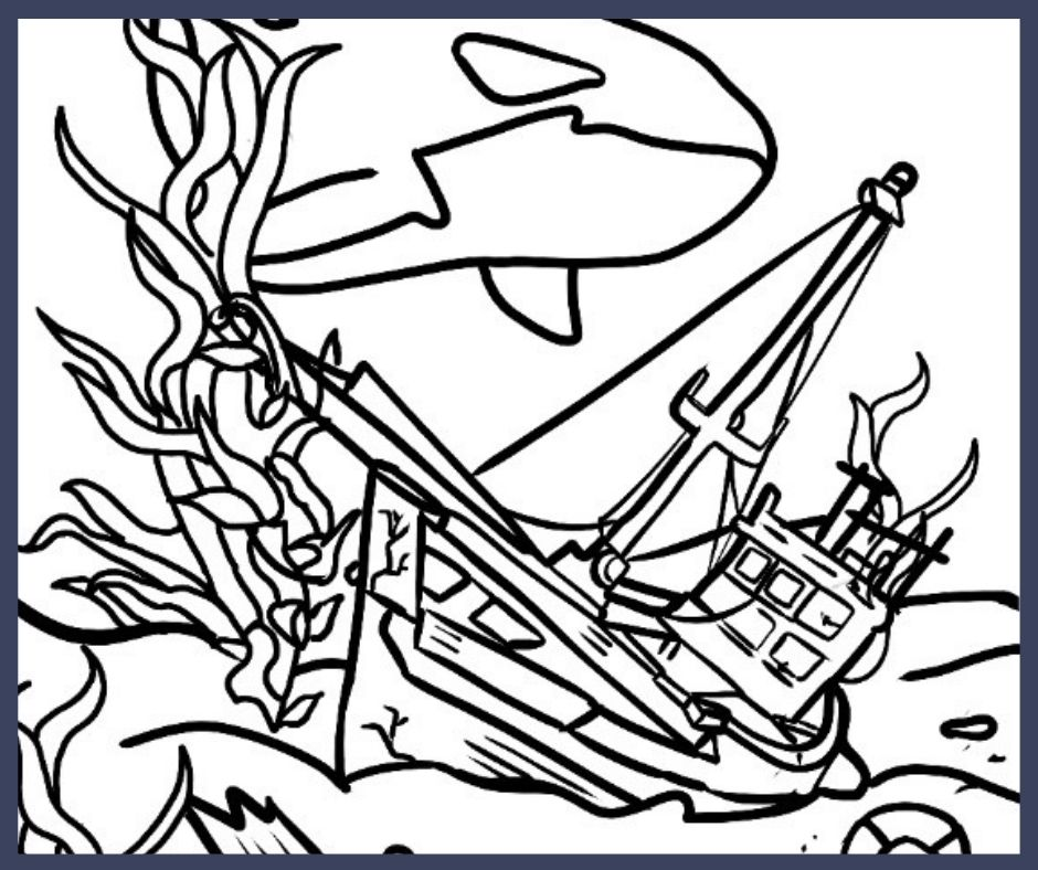 A digitally hand drawn image of a shipwrecked vessel. The ship has a single mast and is sunken in the sea floor. Over the ship swims an orca.