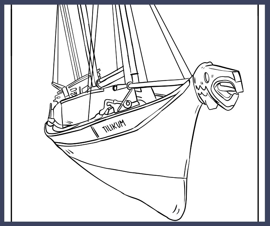 A digitally hand-drawn image of the Tilikum, a Nuu-chah-nulth canoe that was converted into a sailboat. The perspective looks on the sailboat from the bow.