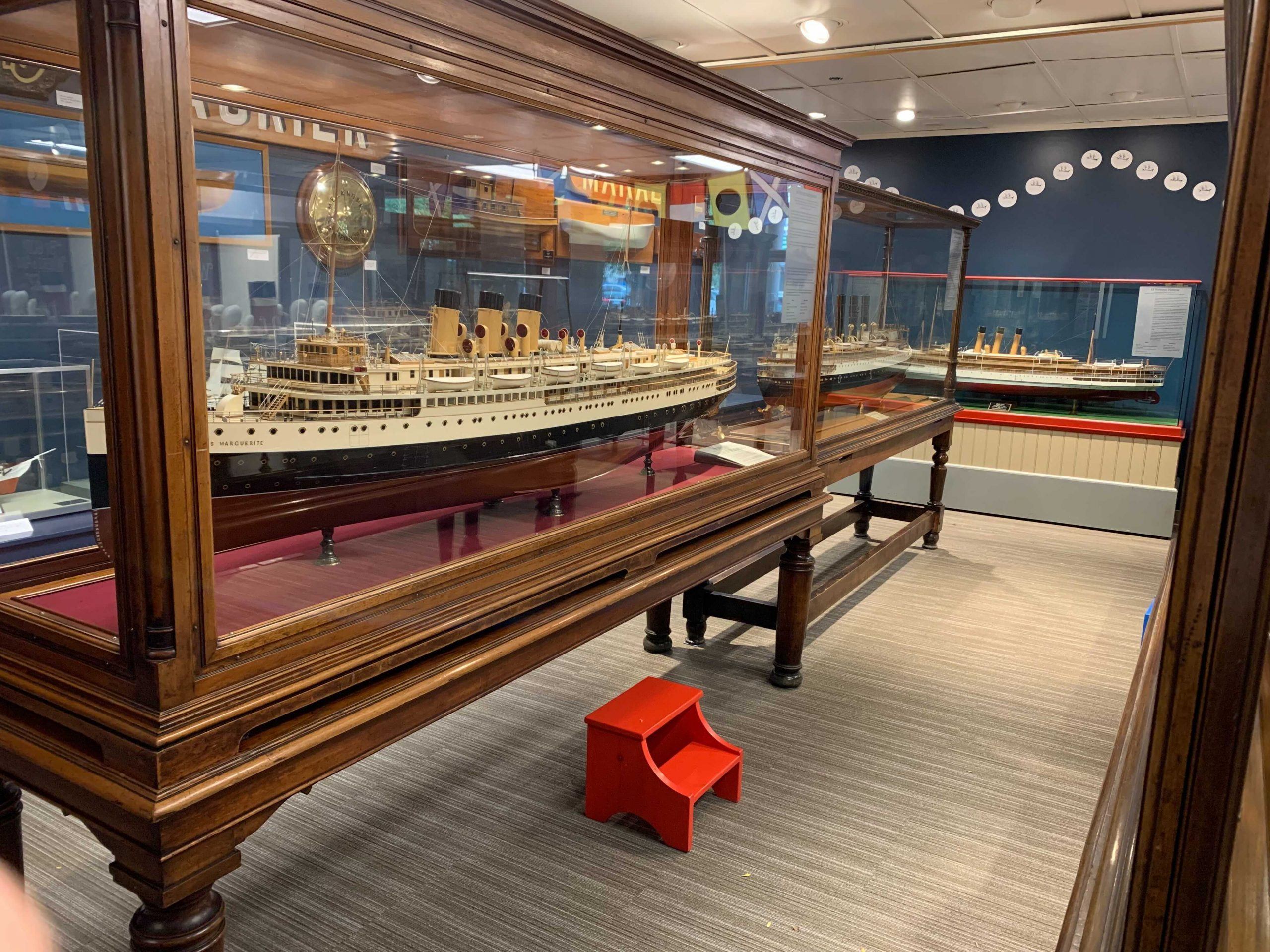 Display cases at the Maritime Museum of BC
